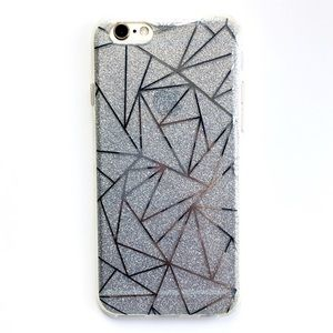 Accessories - LAST ONE iPhone 6/6S Case Silver Geometric Glitter